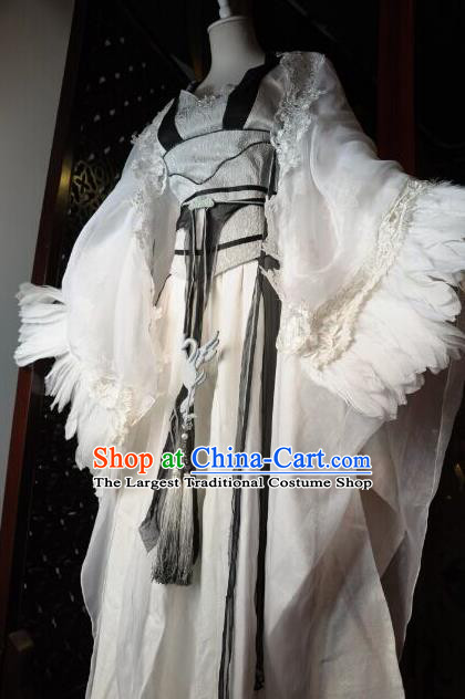 Chinese Traditional Cosplay Heroine Female Knight Costume Ancient Swordswoman White Dress for Women