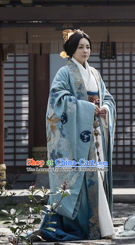 Chinese Ancient Dowager Hanfu Dress The Lengend Of Haolan Warring States Period Historical Costume and Headpiece for Women