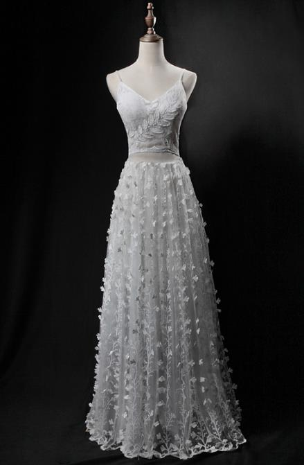 Professional Embroidered Lace White Wedding Dress Princess Full Dress Modern Dance Costume for Women