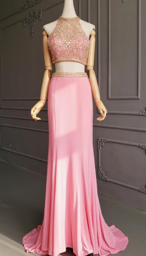 Top Grade Catwalks Diamante Pink Trailing Evening Dress Compere Modern Fancywork Costume for Women