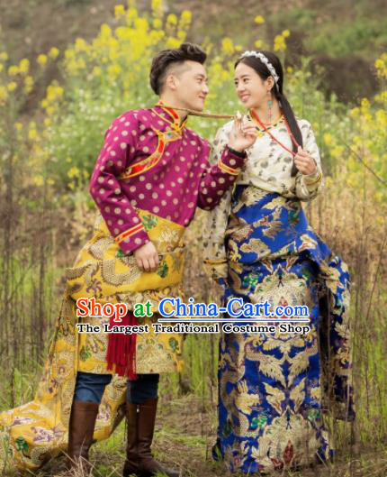 Chinese Traditional Tibetan Wedding Brocade Robes Zang Nationality Heishui Dance Ethnic Costumes for Women for Men