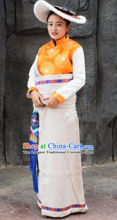Chinese Traditional National Ethnic Tibetan Robe Zang Nationality Costume for Women