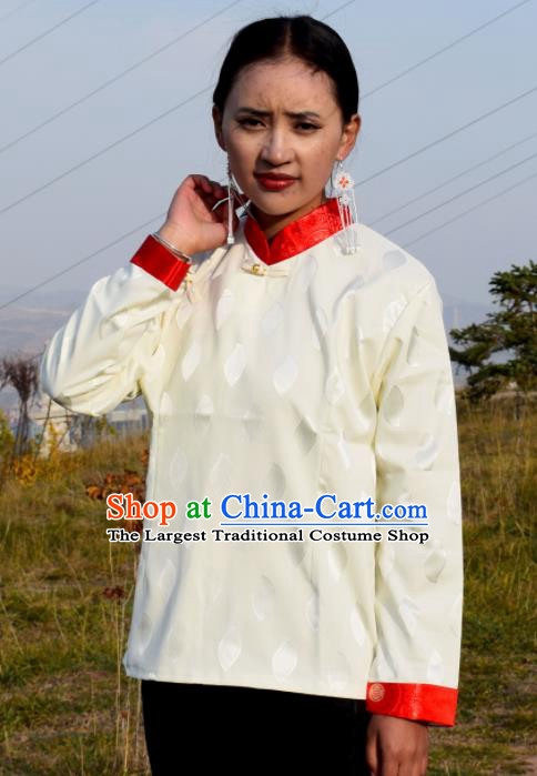 Chinese Traditional Tibetan National Ethnic White Blouse Zang Nationality Costume for Women