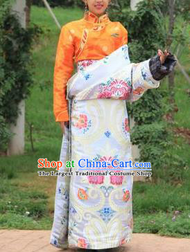 Chinese Traditional Tibetan Ethnic White Brocade Robe Zang Nationality Heishui Dance Costume for Women