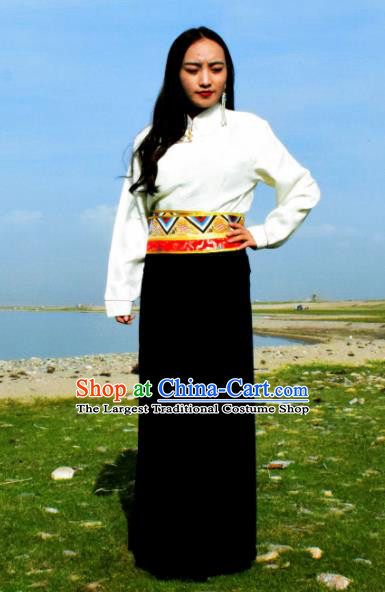 Chinese Traditional Tibetan National Ethnic Black Skirt Zang Nationality Costume for Women