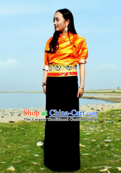 Chinese Traditional Tibetan National Ethnic Clothing Zang Nationality Costume for Women