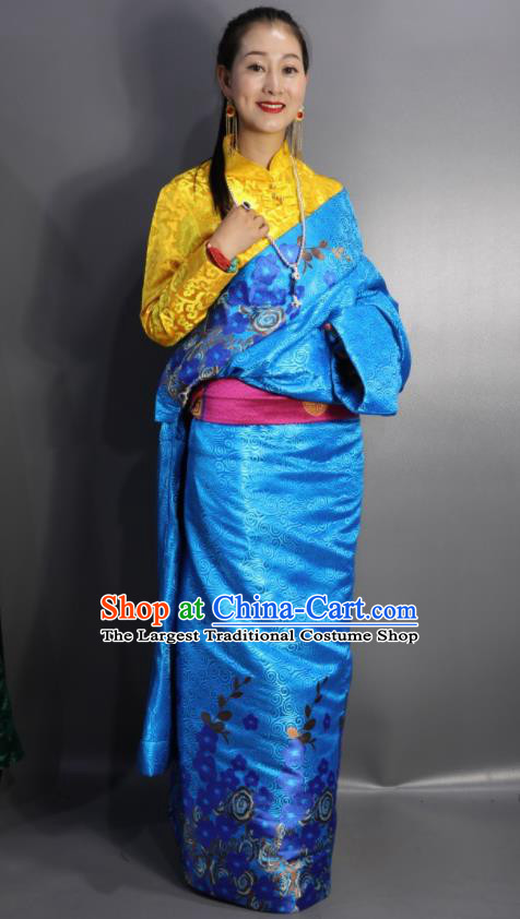 Chinese Traditional Tibetan National Ethnic Blue Robe Zang Nationality Wedding Costume for Women