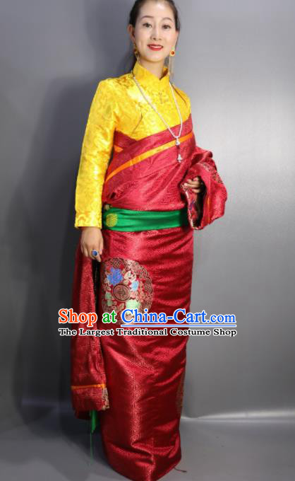 Chinese Traditional Tibetan National Ethnic Embroidered Red Robe Zang Nationality Wedding Costume for Women