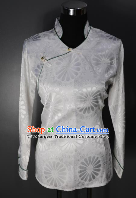 Chinese Traditional National Ethnic Tibetan White Blouse Zang Nationality Folk Dance Costume for Women