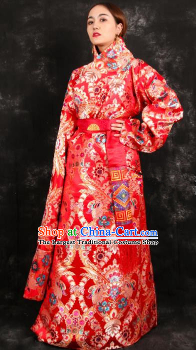 Chinese Traditional Tibetan Ethnic Bride Red Robe Zang Nationality Heishui Dance Costume for Women
