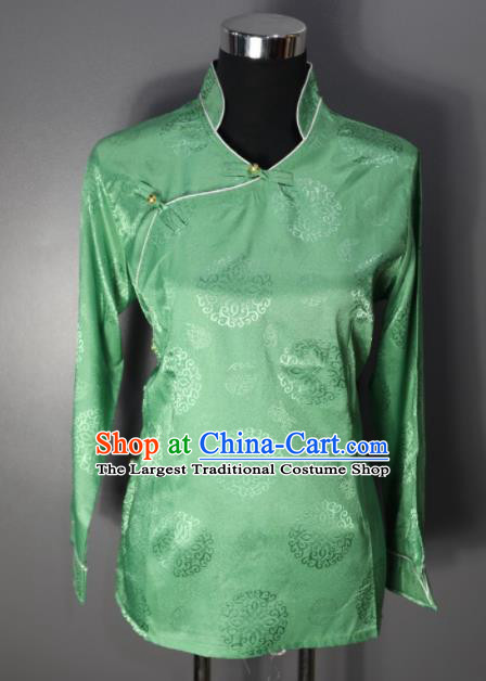 Chinese Traditional National Ethnic Tibetan Light Green Blouse Zang Nationality Folk Dance Costume for Women