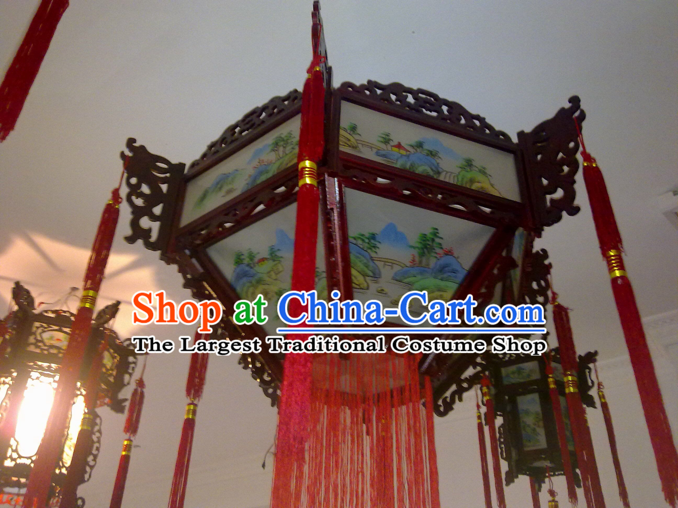 Chinese Hand Carved Classical Painting Palace Ceiling Lantern