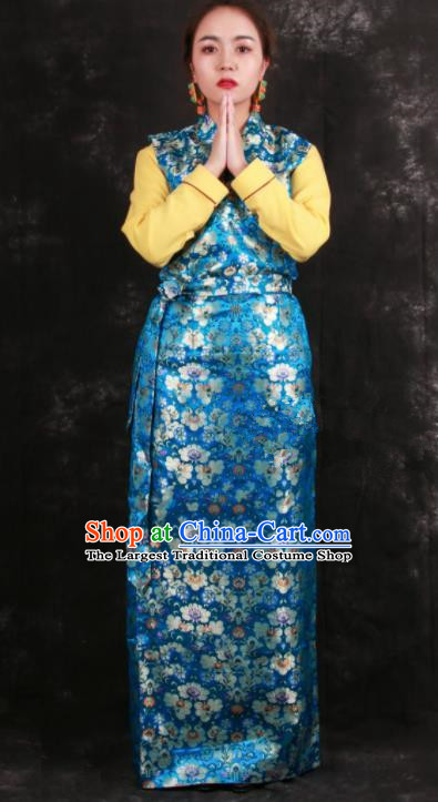 Chinese Traditional Tibetan Ethnic Bride Blue Brocade Dress Zang Nationality Heishui Dance Costume for Women