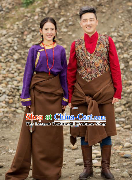 Chinese Traditional Tibetan Couple Brown Robes Zang Nationality Heishui Dance Ethnic Costumes for Women for Men