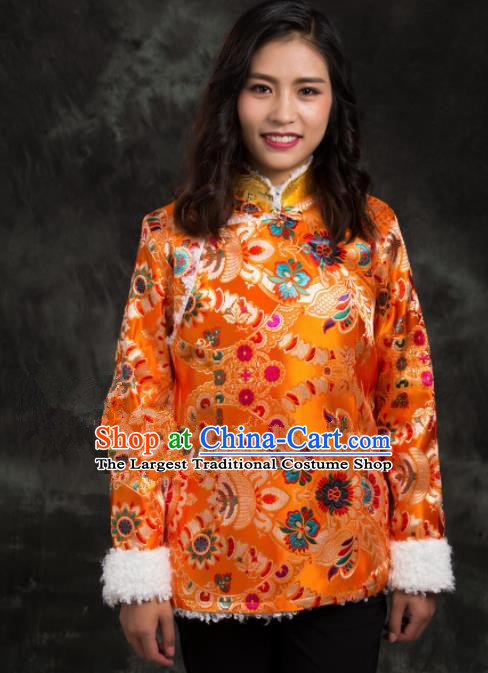 Chinese Traditional Ethnic Female Golden Brocade Tibetan Jacket Zang Nationality Heishui Dance Costume for Women