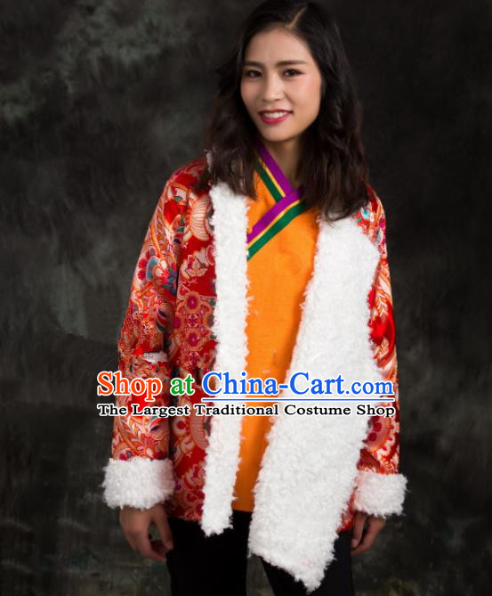 Chinese Traditional Ethnic Female Red Brocade Tibetan Jacket Zang Nationality Heishui Dance Costume for Women
