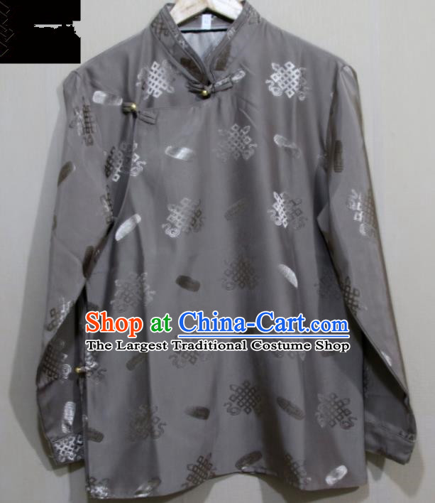 Chinese Traditional Tibetan Grey Shirt Zang Nationality Ethnic Folk Dance Costume for Men