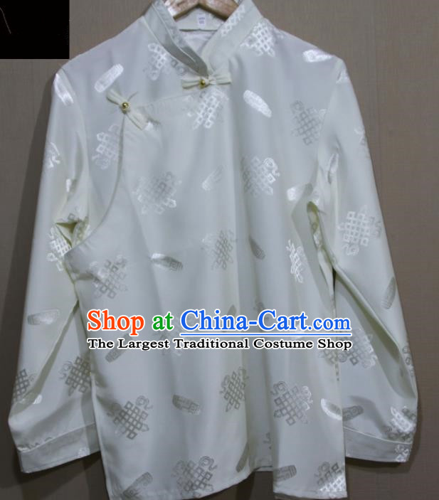 Chinese Traditional Tibetan White Shirt Zang Nationality Ethnic Folk Dance Costume for Men