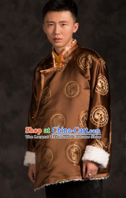 Chinese Traditional Tibetan Brown Brocade Jacket Zang Nationality Wedding Ethnic Costume for Men