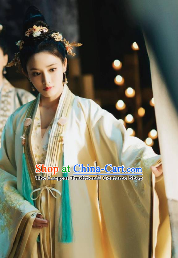 Chinese Ancient Drama Imperial Consort Embroidered Replica Costume Tang Dynasty Palace Lady Hanfu Dress and Headpiece for Women