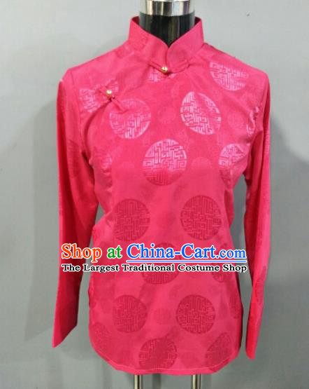 Traditional Chinese National Ethnic Tibetan Rosy Blouse Zang Nationality Folk Dance Costume for Women