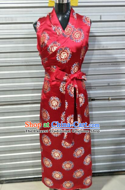 Traditional Chinese National Tibetan Ethnic Red Dress Zang Nationality Folk Dance Costume for Women
