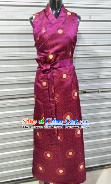 Traditional Chinese National Tibetan Ethnic Wine Red Dress Zang Nationality Folk Dance Costume for Women