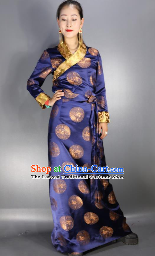 Traditional Chinese National Ethnic Navy Brocade Tibetan Dress Zang Nationality Folk Dance Costume for Women