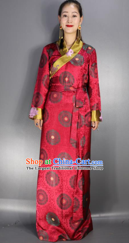 Traditional Chinese National Ethnic Red Brocade Tibetan Dress Zang Nationality Folk Dance Costume for Women