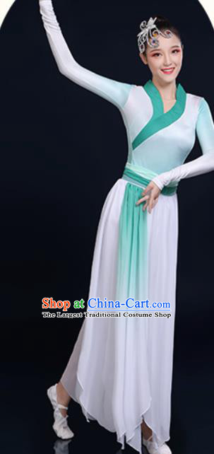 Traditional Chinese Classical Dance Green Dress Umbrella Dance Fan Dance Costume for Women