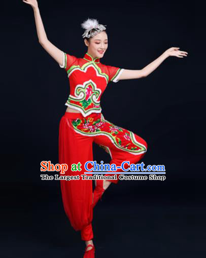Traditional Chinese Folk Dance Clothing Yangko Dance Fan Dance Red Costume for Women