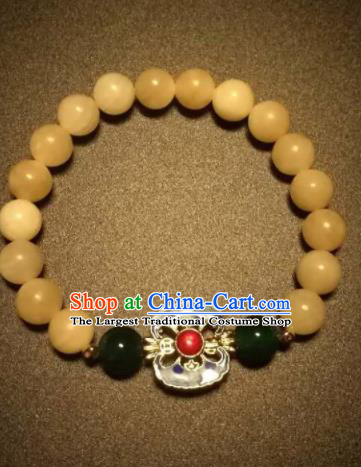 Chinese Traditional Beeswax Beads Bracelet Handmade Hanfu Bangles for Women