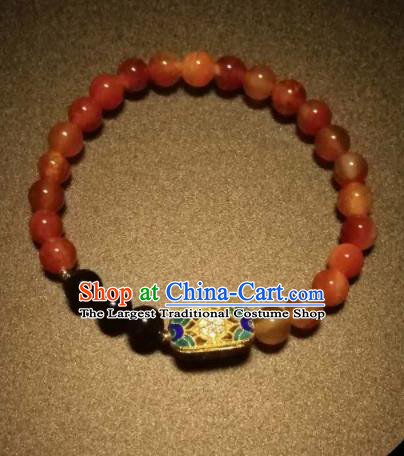Chinese Traditional Agate Beads Bracelet Handmade Hanfu Bangles for Women