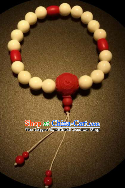 Chinese Traditional White Beads Bracelet Handmade Hanfu Cinnabar Rose Bangles for Women