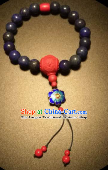 Chinese Traditional Lapis Lazuli Beads Bracelet Handmade Hanfu Bangles for Women