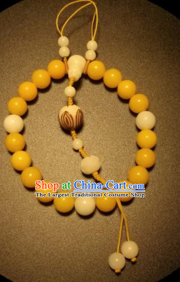 Chinese Traditional Canary Stone Beads Bracelet Handmade Hanfu Bangles for Women