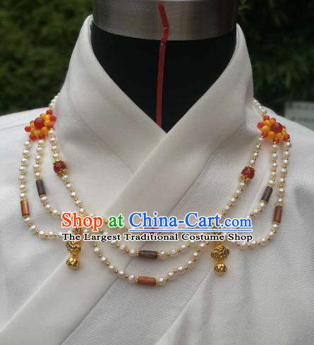 Chinese Traditional Pearls Necklace Ancient Palace Handmade Hanfu Jade Necklet for Women