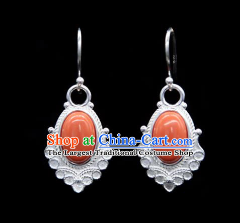 Chinese Traditional Tibetan Ethnic Ear Accessories Zang Nationality Handmade Coral Stone Earrings for Women
