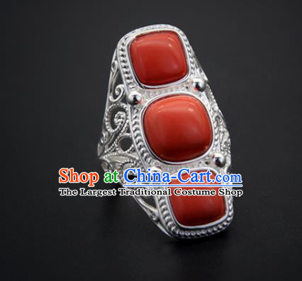 Chinese Traditional Mongolian Ethnic Rings Accessories Handmade Mongol Nationality Coral Stone Finger Ring for Women