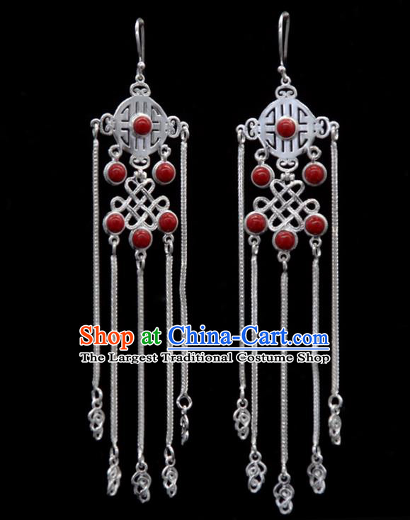 Chinese Traditional Mongolion Ethnic Red Stone Tassel Ear Accessories Mongol Nationality Handmade Earrings for Women