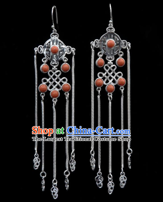 Chinese Traditional Mongolion Ethnic Coral Stone Tassel Ear Accessories Mongol Nationality Handmade Earrings for Women
