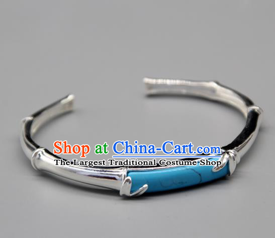 Chinese Traditional Tibetan Ethnic Blue Stone Bracelet Accessories Handmade Zang Nationality Sliver Bangle for Women