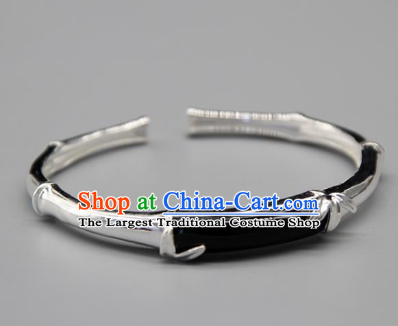 Chinese Traditional Tibetan Ethnic Black Stone Bracelet Accessories Handmade Zang Nationality Sliver Bangle for Women