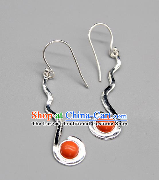 Chinese Traditional Mongolion Ethnic Coral Stone Sliver Ear Accessories Mongol Nationality Handmade Earrings for Women