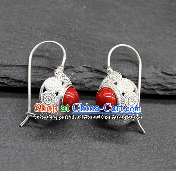 Chinese Traditional Mongolion Ethnic Sliver Carving Ear Accessories Mongol Nationality Red Earrings for Women