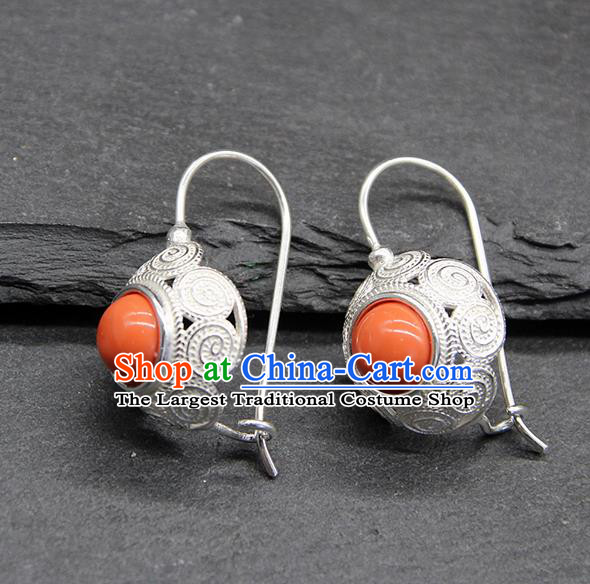 Chinese Traditional Mongolion Ethnic Sliver Carving Ear Accessories Mongol Nationality Coral Stone Earrings for Women