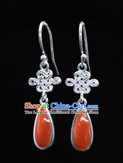 Chinese Traditional Mongolion Ethnic Chinese Knot Ear Accessories Mongol Nationality Coral Stone Earrings for Women