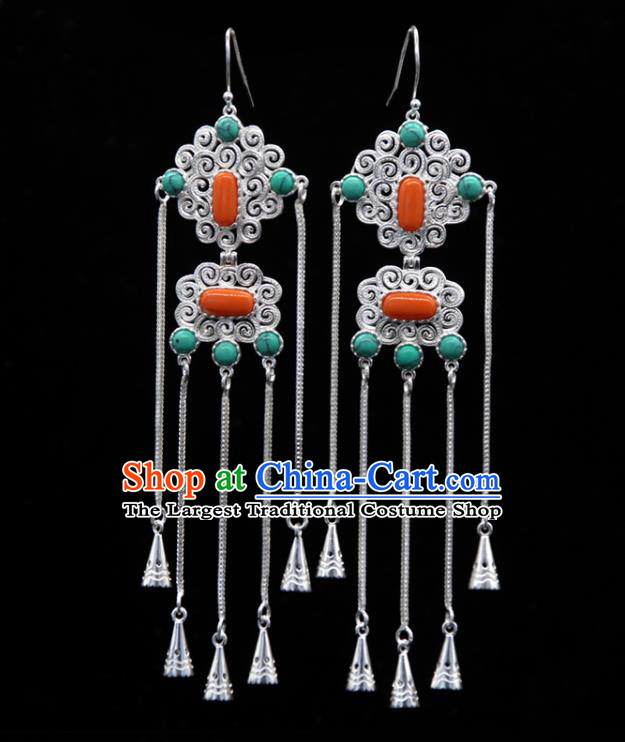 Chinese Traditional Ethnic Wedding Ear Accessories Mongol Nationality Handmade Coral Stone Tassel Earrings for Women