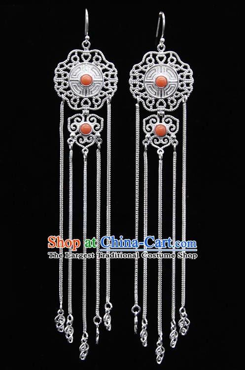 Chinese Traditional Mongolion Ethnic Coral Stone Sliver Tassel Ear Accessories Mongol Nationality Earrings for Women