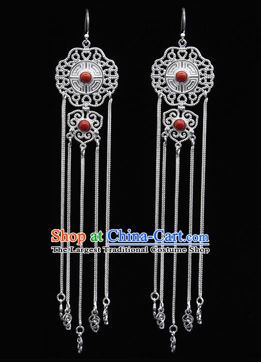 Chinese Traditional Mongolion Ethnic Red Stone Sliver Tassel Ear Accessories Mongol Nationality Earrings for Women